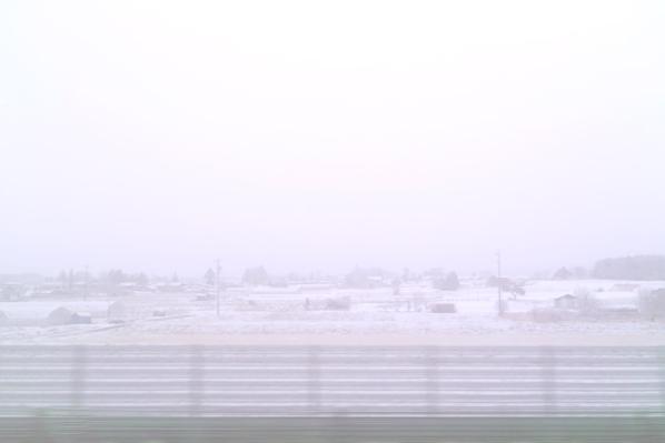 トンネルを抜ける前から雪だった