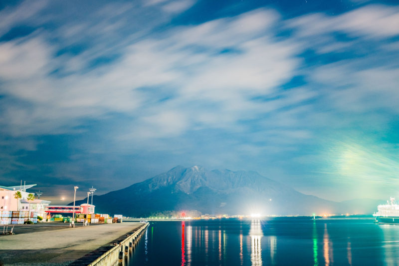 夜の桜島を見に